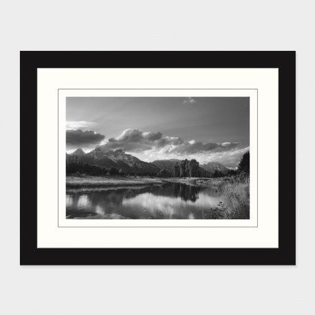 Grand-Tetons-at-Sunset-BW-Framed