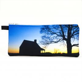 Zippered Pencil Case: Farmhouse Silhouette